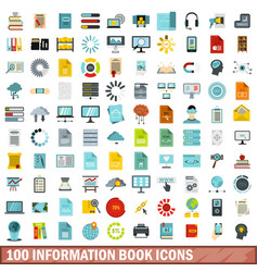 100 information book icons set flat style vector image