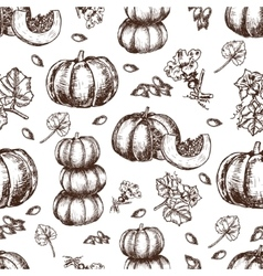 Hand drawn seamless pattern sketch pumpkin vector