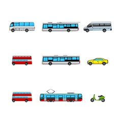 public transport color icons vector image