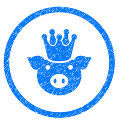 King pig rounded grainy icon vector