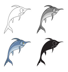 marlin fish icon in cartoon style isolated on vector image