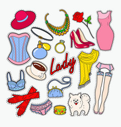 Woman fashion clothes and accessories vector