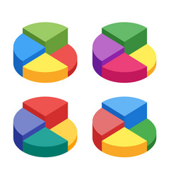 Pie chart on isolated background set of bulk vector