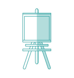 Blue shading silhouette cartoon wooden easel for vector