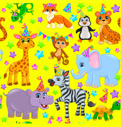 Seamless animal pattern stars birthday cone on vector