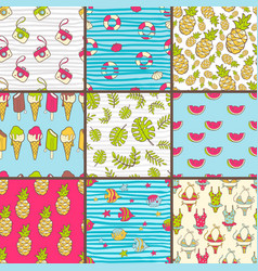 Collection of seamless summer patterns bright vector