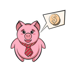 piggy bank in tie with speech bubble dollar sign vector image