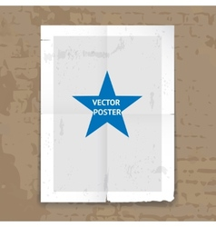 Grunge tattered folded poster template vector