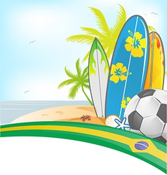 Brazil summer background with surfboard and soccer vector