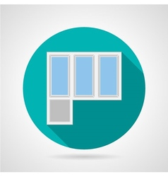 Flat icon for plastic balcony doors vector