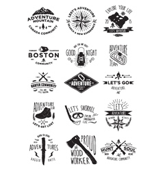 15 adventure activity badges vector