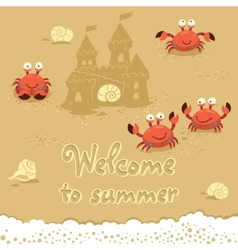 Cute of crabs and lettering on vector