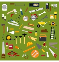 Industrial hand tools and equipment flat icons vector