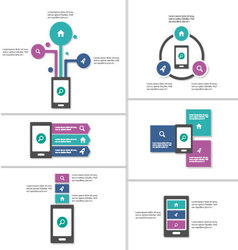 Smartphone presentation templates infographic set vector