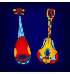 Cartoon colorful stringed musical instruments vector