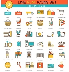 Shopping flat line icon set modern elegant vector