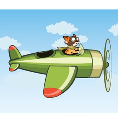 Cat Flying Plane vector image