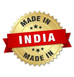 Made in india gold badge with red ribbon vector