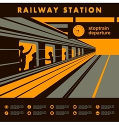 Platform railway station vector