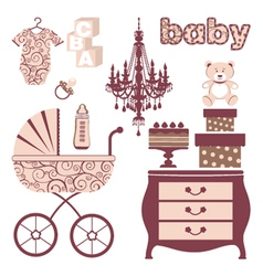 Elegant baby shower vector