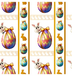 A seamless template with eggs and bunnies vector