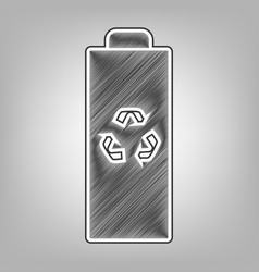 Battery recycle sign pencil vector