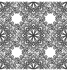 Black lace seamless pattern with flowers on white vector