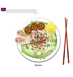 Cambodian rice noodle soup with pork and meatballs vector