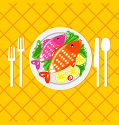 cartoone fish dish vector image