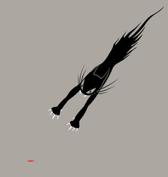 cat with claws jumping vector image vector image