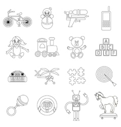 Childrens toys icons set outline style vector image