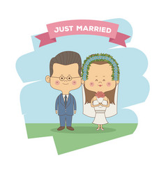 Color sky landscape scene of just married couple vector