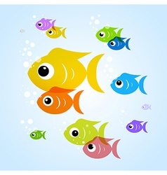 Colorful fish in blue water vector image vector image