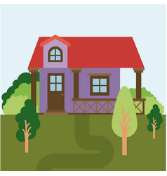 colorful natural landscape with country house vector image