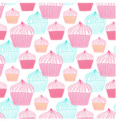 cupcakes seamless pattern sweets background for vector image