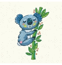 Cute cartoon koala on a tree vector