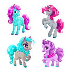 cute cartoon little horses set vector image vector image
