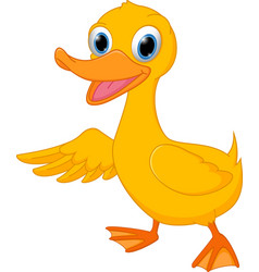 Cute duck cartoon presenting vector