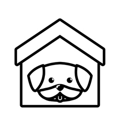 dog cute tongue out house pet outline vector image
