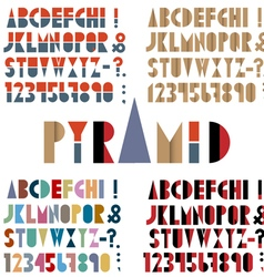 Four fonts numbers and punctuation marks in retro vector