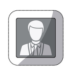 grayscale sticker of square frame half body vector image vector image