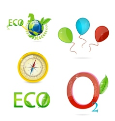 green nature icons vector image vector image