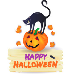 halloween pumpkin with black cat and wooden sign vector image vector image