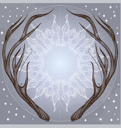 hand drawn deer antlers with decorative floral vector image vector image
