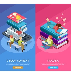 Isometric Vertical Reading Banner Set vector image