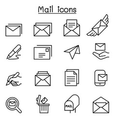 mail icon set in thin line style vector image vector image