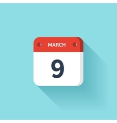 March 9 isometric calendar icon with shadow vector