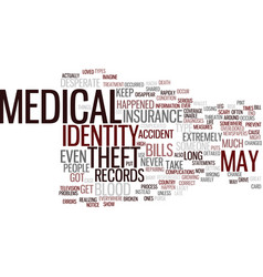 Medical identity theft text background word cloud vector