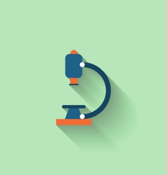 Modern Flat Icon of Microscope with Long Shadow vector image vector image
