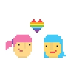 Pixel art style two lesbian girls vector image